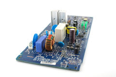 Old electronics circuit board. Over white royalty free stock photos