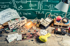 Old electronics workplace in school lab Stock Images