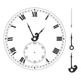 Old elegant  clock  face template with numerals and arrows. Vector illustration Stock Image