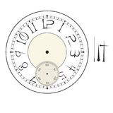 Old elegant  clock  face template with numerals and arrows. Royalty Free Stock Photos