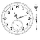 Old elegant  clock  face template with numerals and arrows. Stock Photography