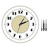 Old elegant  clock  face template with numerals and arrows. Royalty Free Stock Images