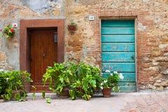 Old elegant door Tuscan Italy Stock Photography
