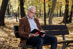 Old elegant man reading a book outside Stock Photo