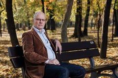 Old elegant man sitting on bench outside Royalty Free Stock Photos
