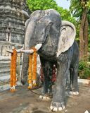 Old elephant statue in Buddhist temple Royalty Free Stock Photography
