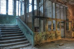 Old elevator in an abandoned hospital Royalty Free Stock Image