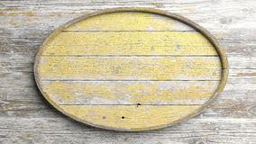 Old elliptic wooden. Sign on wood wall background Stock Photo