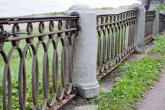 Old embankment fence Stock Photo