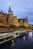 Old embankment of Ghent, Belgium Royalty Free Stock Photo