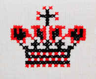 Old embroidery on the simple canvas Royalty Free Stock Photos