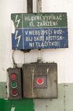 Old emergency power switch in a factory Royalty Free Stock Image