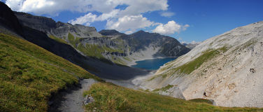 The Old Emosson Lake, Switzerland. The beautiful Old Emosson Lake located in Switzerland at the border with France Royalty Free Stock Photo