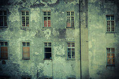 Old empty abandoned building facade. Stock Photo