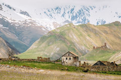 Old Empty Abandoned Forsaken Village With Dilapidated Houses In Royalty Free Stock Photography