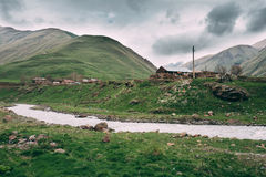 Old Empty Abandoned Forsaken Village With Dilapidated Houses In Stock Images