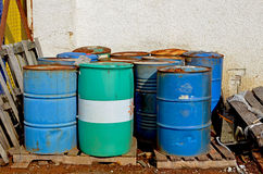 Old empty barrels Stock Photo
