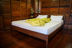 Old Empty Bedroom set in natural wood Stock Image
