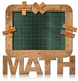 Old Empty Blackboard with Text Math. 3D illustration of old empty and green blackboard with wooden rectangular frame, text Math and mathematical symbols Royalty Free Stock Image
