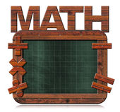Old Empty Blackboard with Text Math. 3D illustration of old empty and green blackboard with wooden rectangular frame, text Math and mathematical symbols Stock Photo