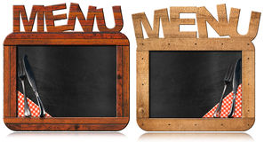 Old Empty Blackboard with Text Menu Royalty Free Stock Photos