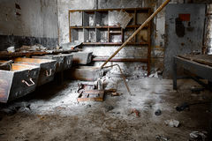 Old empty desolate dirty locksmith workshop Royalty Free Stock Image