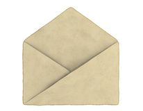 Old empty enveloped. An empty old envelope. Isolated on white background Royalty Free Stock Images
