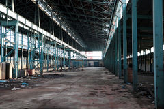 Old empty factory. Abandoned Industrial building Interior. Old damaged factory stock photography