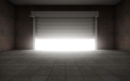Old empty garage. With door background Stock Photography