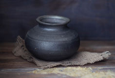 Old Empty Indian clay pot stock photography