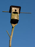 Old and empty nestling-house. In blue sky Stock Photos