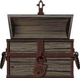 Old empty open chest. Old, time-consuming open empty pirate chest with an open lid vector illustration