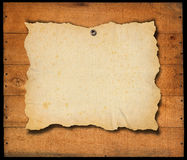 Old Empty Paper on old Wooden Boards Royalty Free Stock Image