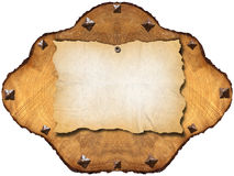 Old Empty Paper in Section of Tree Royalty Free Stock Image