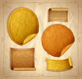 Old empty paper stickers set with frames Royalty Free Stock Photo