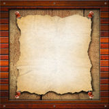 Old Empty Paper in Wood Frame Stock Photography