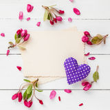 Old empty photo for inside, frame of apple flowers and heart. Stock Image