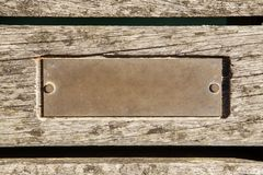Old empty plaque. Blank plaque on swanage pier royalty free stock photo