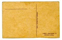 Old empty postcard (back) Royalty Free Stock Photos