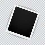 Old empty realistic photo frame with transparent shadow on plaid black white background. Photo border with paper clip to family album. Vector illustration for Royalty Free Stock Photos