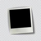 Old empty realistic photo frame with transparent shadow on plaid black white background Royalty Free Stock Image