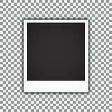 Old empty realistic photo frame with transparent shadow on plaid black white background. Vector illustration Royalty Free Stock Images