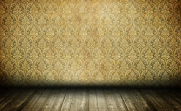 Old empty room. Yellow damask wallpaper in vintage room interior Stock Photos