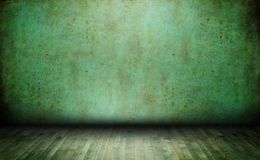 Old empty room. Green wallpaper in vintage room interior Royalty Free Stock Photo