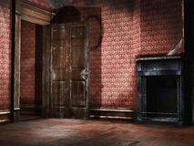 Old empty room. With vintage wallpaper and fireplace vector illustration