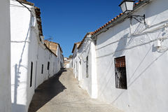 Old empty street. One of old streets in Burguillos del Cerro, a municipality in the province of Badajoz, Extremadura, Spain. It has a population of about 3, 000 royalty free stock images