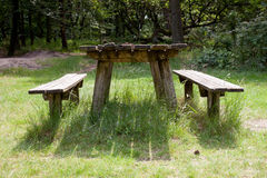 Old empty table fot picknick Royalty Free Stock Images