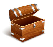 Old empty vintage wooden trunk Stock Photo