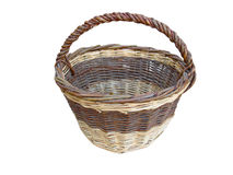 Old empty wooden basket isolated on white Stock Image