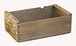 Old empty wooden orchard crate isolated. royalty free stock photography
